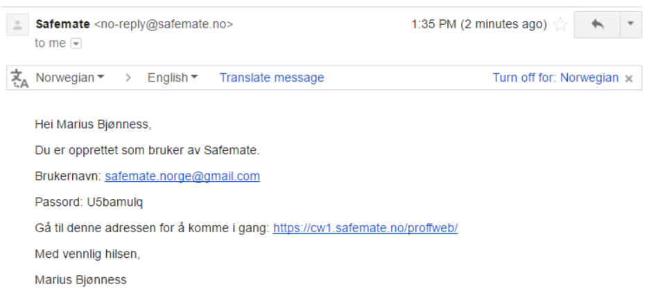Example email sent to new users